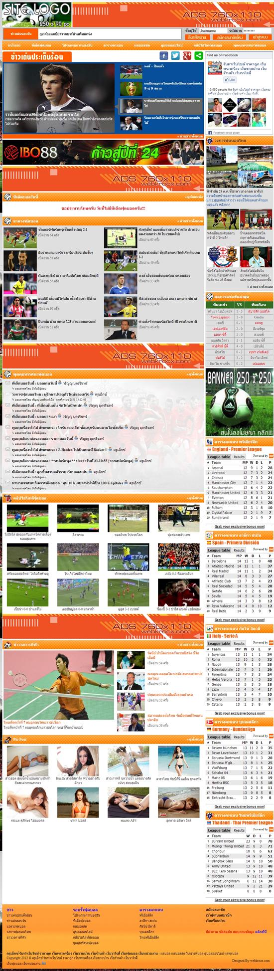 ภาพที่ 1 รับทำเว็บไซต์ ฟุตบอล ดูผลผลออนไลน์